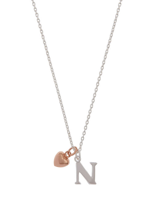 Sterling Silver Initial Necklace with Heart Charm - N, , large