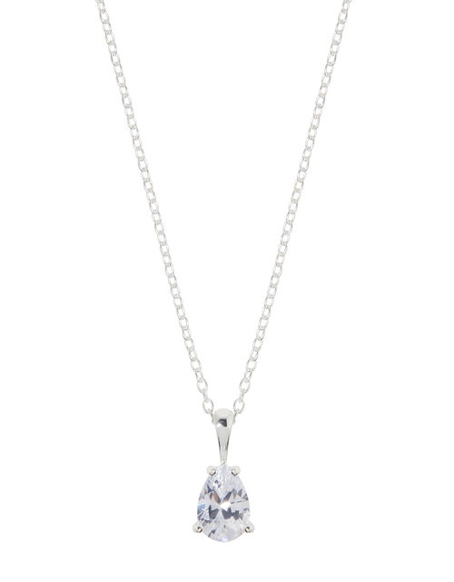 Sterling Silver Pear Solitaire Necklace, , large