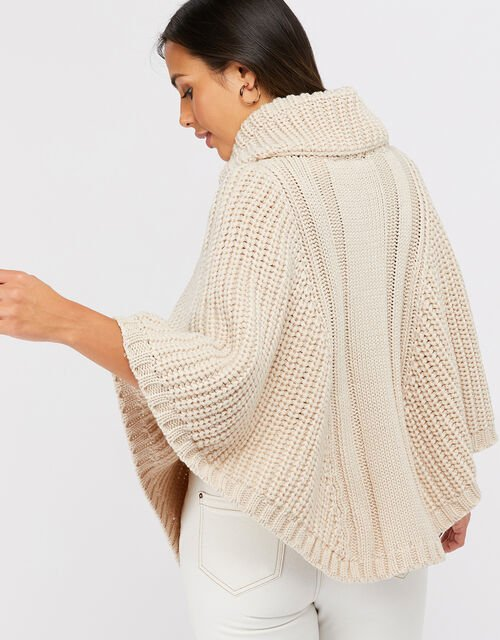 Cable Knit Poncho, Natural, large