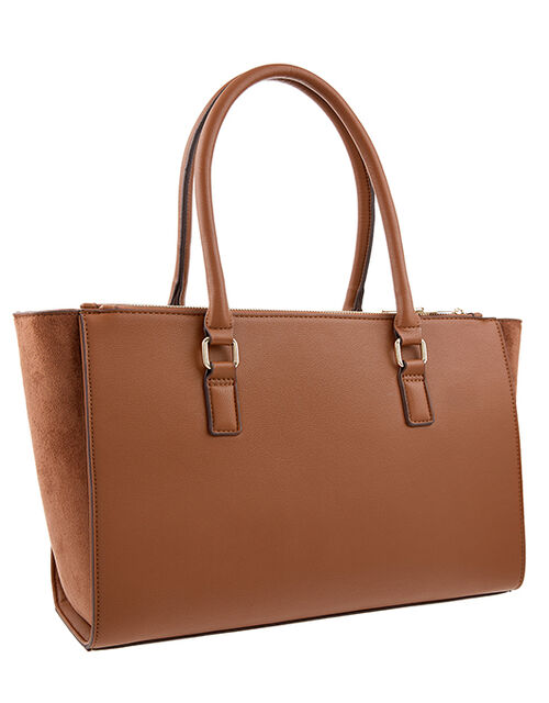 Lenny Vegan Tote Bag, Tan (TAN), large