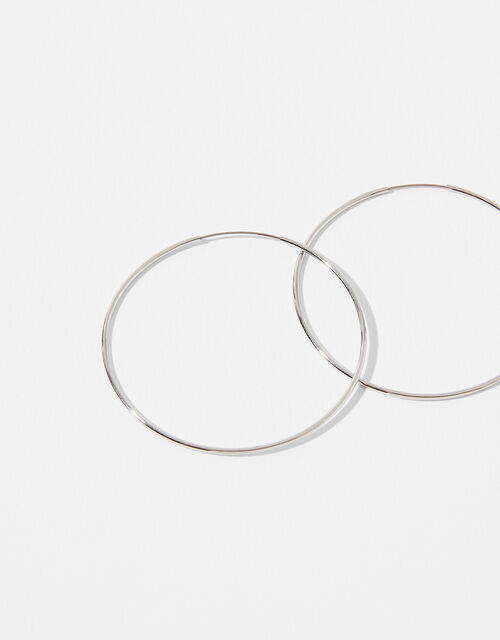 Platinum-Plated Simple Hoop Earrings, , large