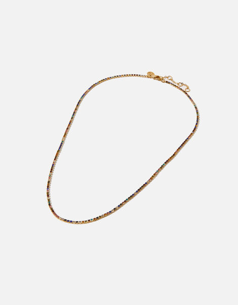 Gold-Plated Rainbow Cupchain Tennis Necklace, , large