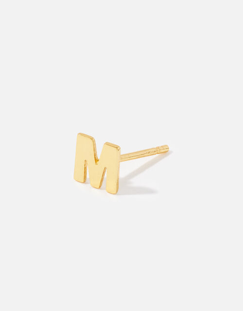 Gold-Plated Single Initial Stud, Gold (GOLD), large