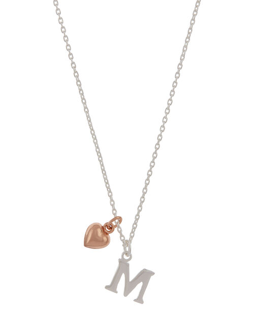 Sterling Silver Initial Necklace with Heart Charm - M, , large