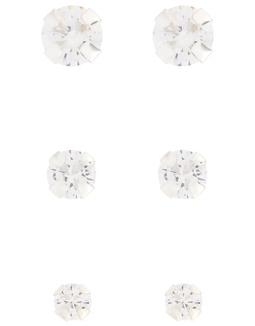 Sterling Silver Crystal Stud Earring Set, , large