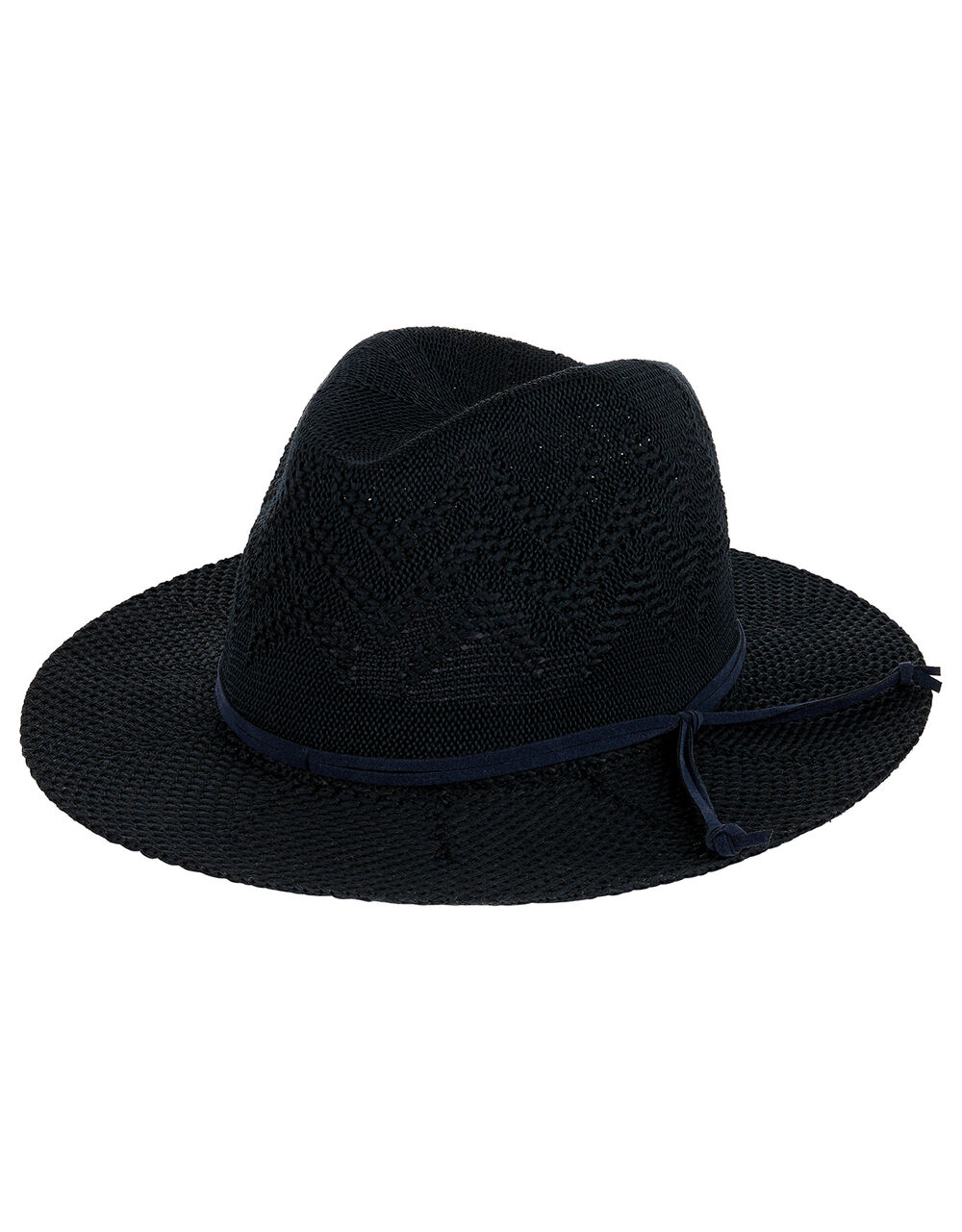 Packable Fedora Hat, Blue (NAVY), large