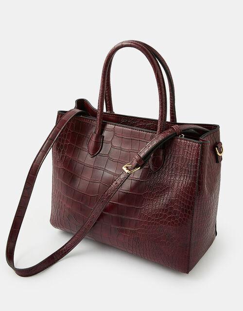Gemma Croc Bag, Red (BURGUNDY), large