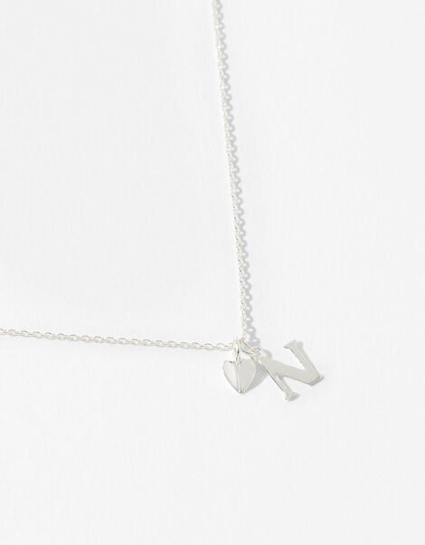 Sterling Silver Heart Initial Necklace - N, , large