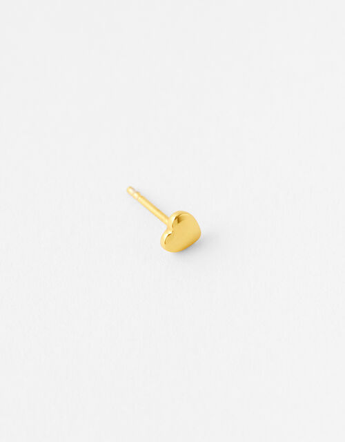 Gold-Plated Single Heart Stud, , large