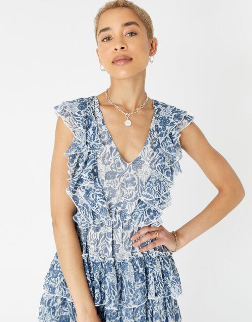 Floral Ruffle Mini Dress, Blue (BLUE), large