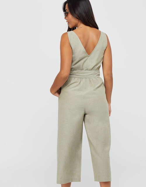 Tie Belt Jumpsuit, Green (KHAKI), large
