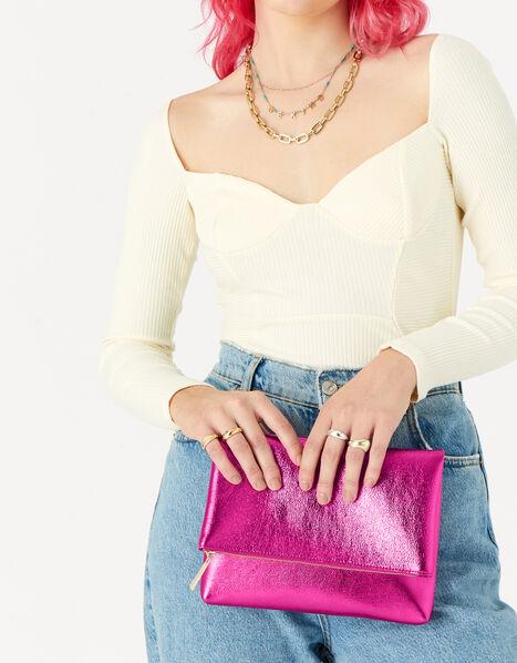 Foldover Clutch Bag Pink, Pink (PINK), large