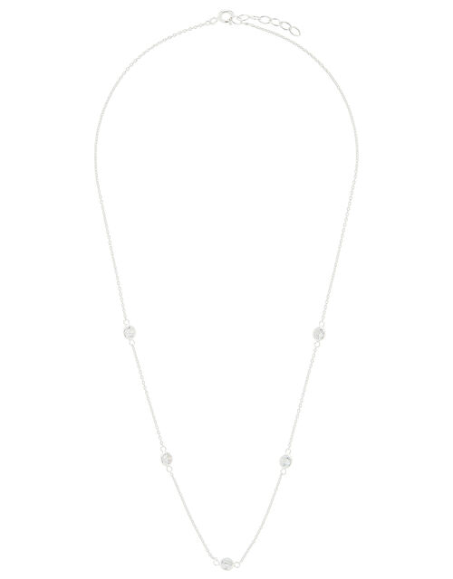 Sterling Silver Sparkle Station Necklace, , large