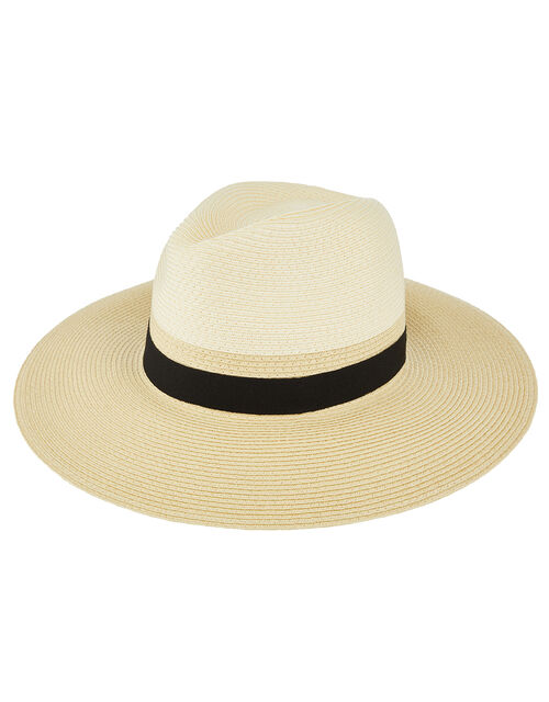 Two Tone Fedora Hat, Natural (NATURAL), large