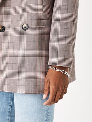 Simple Medium Chain Bracelet Silver