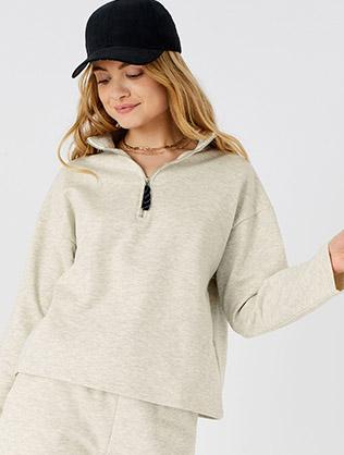 ¼ Zip Sweater Cream