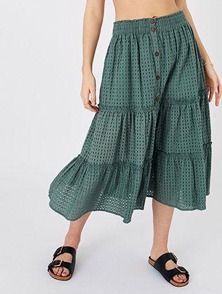 Tiered Broderie Skirt